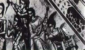 Tambouras sur une peinture murale du XVIIIe siècle (au centre), Monastère de Fanéroméni, Salamine