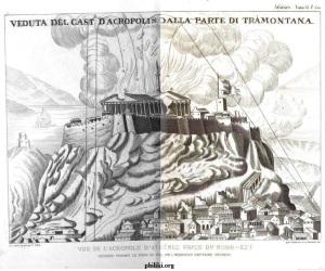 Le bombardement du Parthénon par les Vénitiens - il avait été transformé en mosquée par les Ottomans et servait de poudrière aux troupes ottomanes, lors de la guerre turc-vénitienne. Gravure vénitienne du 17ème siècle. Image tirée de la double page d'un livre du 19ème siècle.