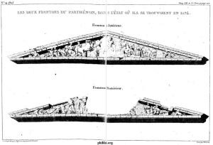 Malgré les destructions de la guerre turco-vénitienne, le Parthénon conservait de nombreuses frises qui seront plus tard enlevées par Lord Elgin. Double page du