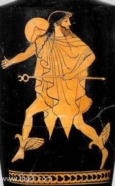 Hermès sur un vase noir à figures rouges. 500-450 av. J.C.. - Source :