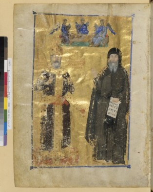 Grec 1242, fol. 123v, Jean VI Cantacuzène en empereur et en moine